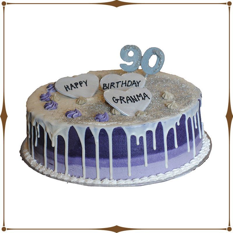 Fantastic Purple And Silver Drip Cake Chanis Delectables Funny Birthday Cards Online Ioscodamsfinfo